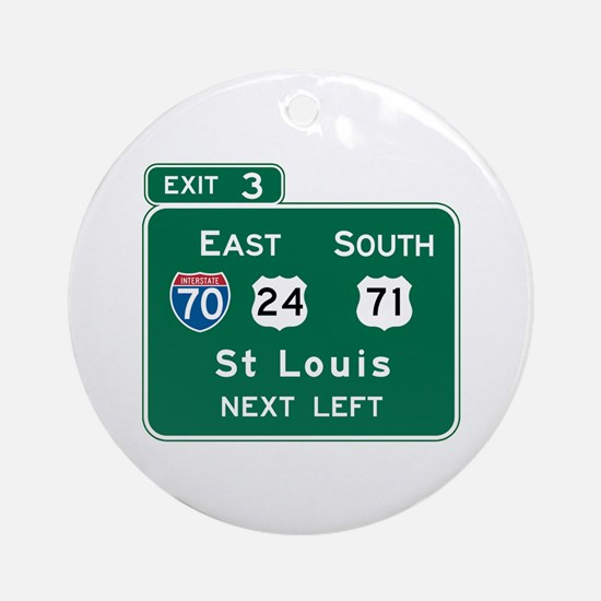 St. Louis, MO Highway Sign Ornament (Round)