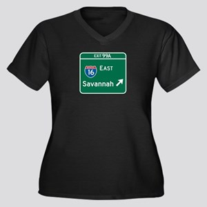 Savannah, GA Highway Sign Women's Plus Size V-Neck