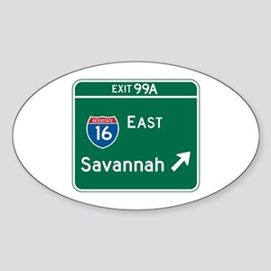 Savannah, GA Highway Sign Oval Sticker