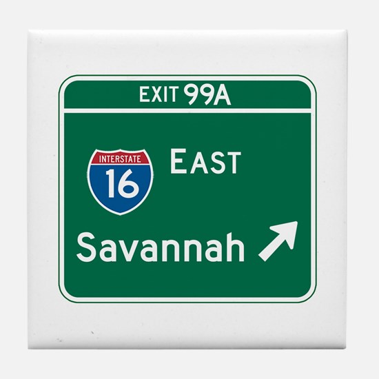 Savannah, GA Highway Sign Tile Coaster