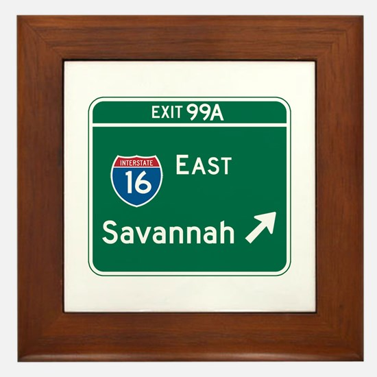 Savannah, GA Highway Sign Framed Tile