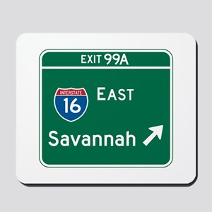 Savannah, GA Highway Sign Mousepad