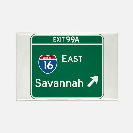 Savannah, GA Highway Sign Rectangle Magnet