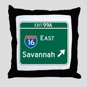 Savannah, GA Highway Sign Throw Pillow
