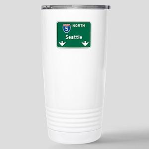 Seattle, WA Highway Sign Stainless Steel Travel Mu
