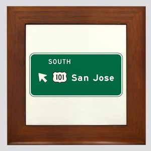 San Jose, CA Highway Sign Framed Tile