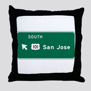 San Jose, CA Highway Sign Throw Pillow