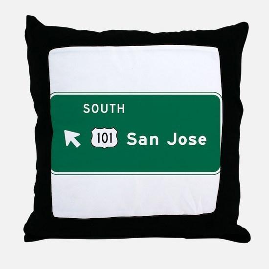 San Jose, CA Highway Sign Throw Pillow