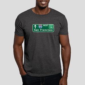 San Francisco, CA Highway Sign Dark T-Shirt