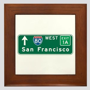 San Francisco, CA Highway Sign Framed Tile