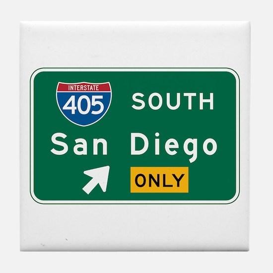 San Diego, CA Highway Sign Tile Coaster