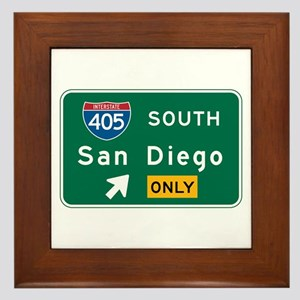San Diego, CA Highway Sign Framed Tile
