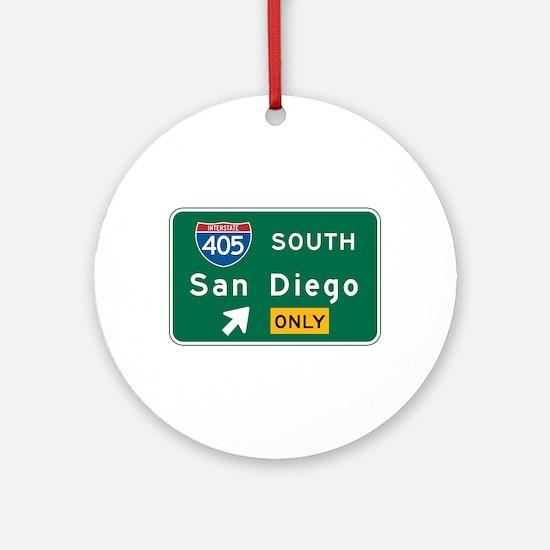 San Diego, CA Highway Sign Ornament (Round)