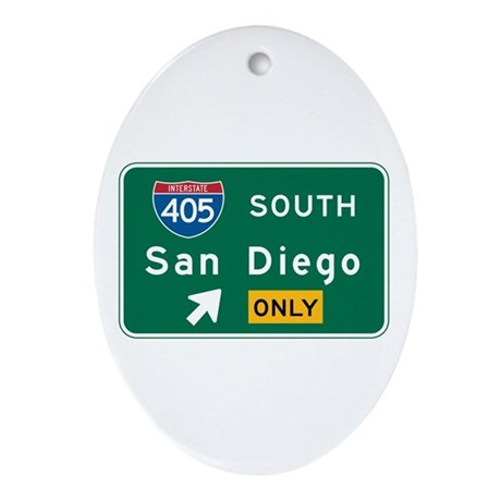 San Diego, CA Highway Sign Oval Ornament