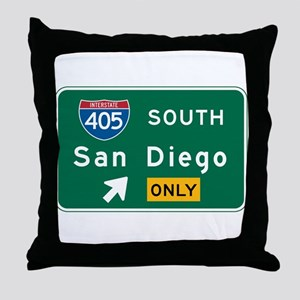 San Diego, CA Highway Sign Throw Pillow