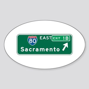 Sacramento, CA Highway Sign Oval Sticker
