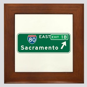 Sacramento, CA Highway Sign Framed Tile