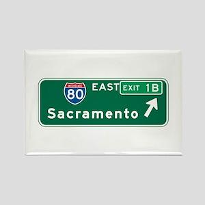 Sacramento, CA Highway Sign Rectangle Magnet