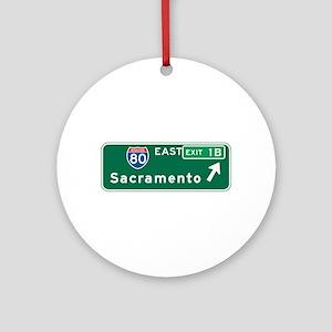 Sacramento, CA Highway Sign Ornament (Round)