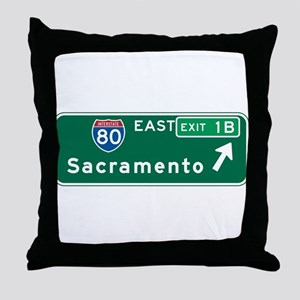 Sacramento, CA Highway Sign Throw Pillow