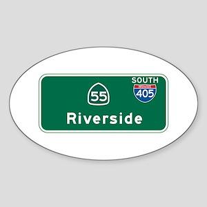 Riverside, CA Highway Sign Oval Sticker