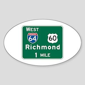Richmond, VA Highway Sign Oval Sticker
