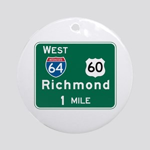 Richmond, VA Highway Sign Ornament (Round)