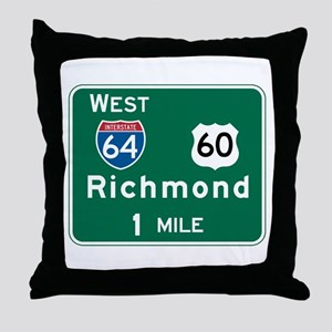Richmond, VA Highway Sign Throw Pillow