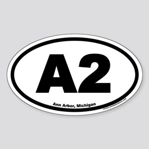 A2 Ann Arbor Michigan Euro Oval Sticker