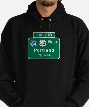 Portland, OR Highway Sign Hoodie (dark)