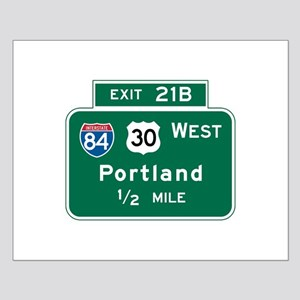 Portland, OR Highway Sign Small Poster
