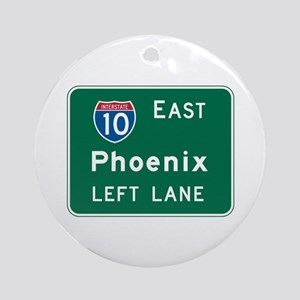 Phoenix, AZ Highway Sign Ornament (Round)