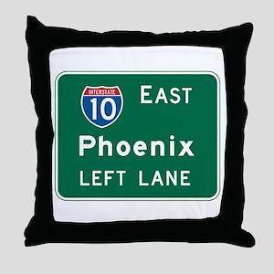 Phoenix, AZ Highway Sign Throw Pillow