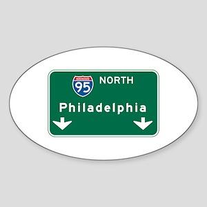 Philadelphia, PA Highway Sign Oval Sticker