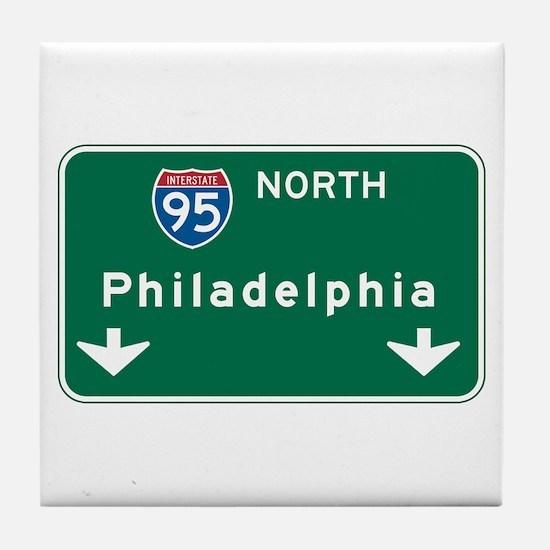 Philadelphia, PA Highway Sign Tile Coaster