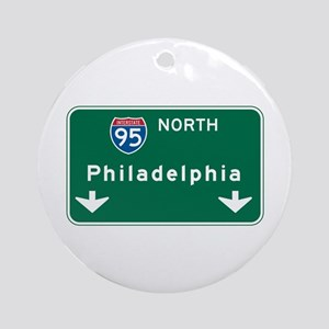 Philadelphia, PA Highway Sign Ornament (Round)