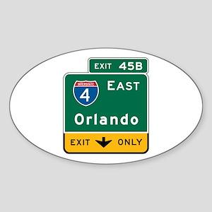 Orlando, FL Highway Sign Oval Sticker