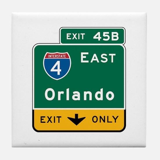 Orlando, FL Highway Sign Tile Coaster