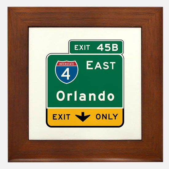 Orlando, FL Highway Sign Framed Tile