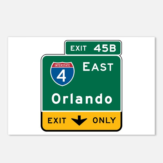 Orlando, FL Highway Sign Postcards (Package of 8)