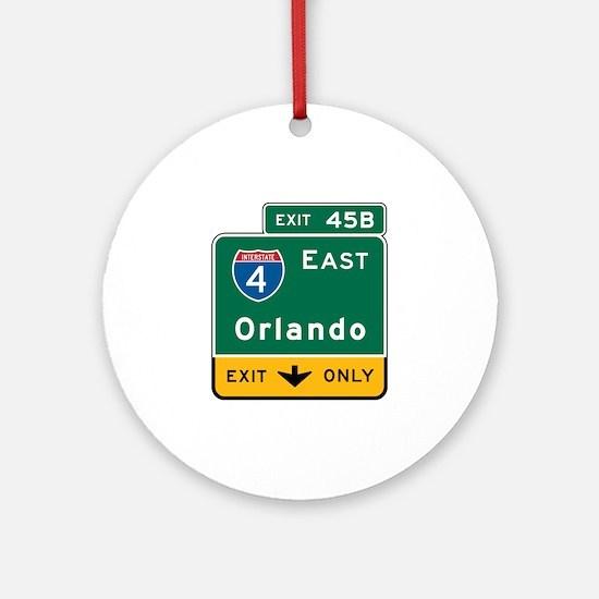 Orlando, FL Highway Sign Ornament (Round)