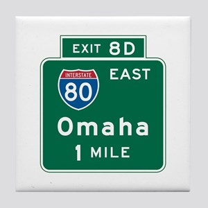 Omaha, NE Highway Sign Tile Coaster