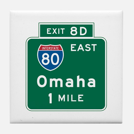 Omaha, NE Highway Sign Tile Coaster