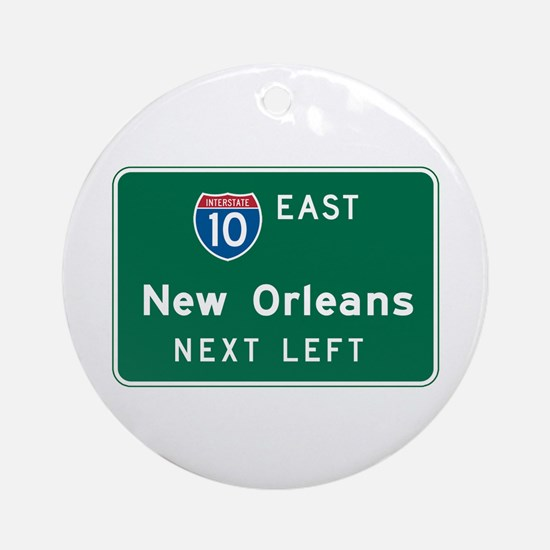 New Orleans, LA Highway Sign Ornament (Round)