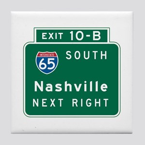 Nashville, TN Highway Sign Tile Coaster