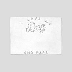 I Love My Dog Baseball And Naps 5'x7'Area Rug
