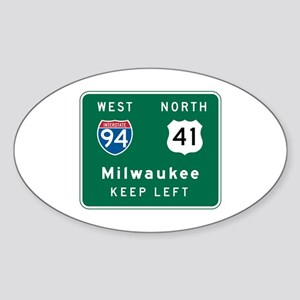Milwaukee, WI Highway Sign Oval Sticker