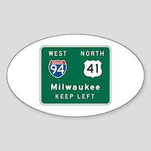 Milwaukee, WI Highway Sign Oval Sticker