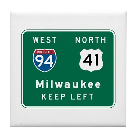 Milwaukee, WI Highway Sign Tile Coaster