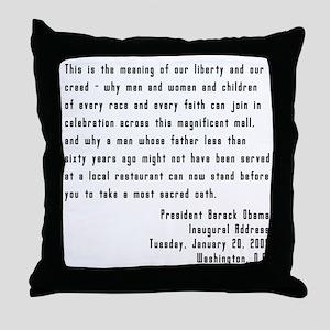 Obama Inaugural Speech Throw Pillow